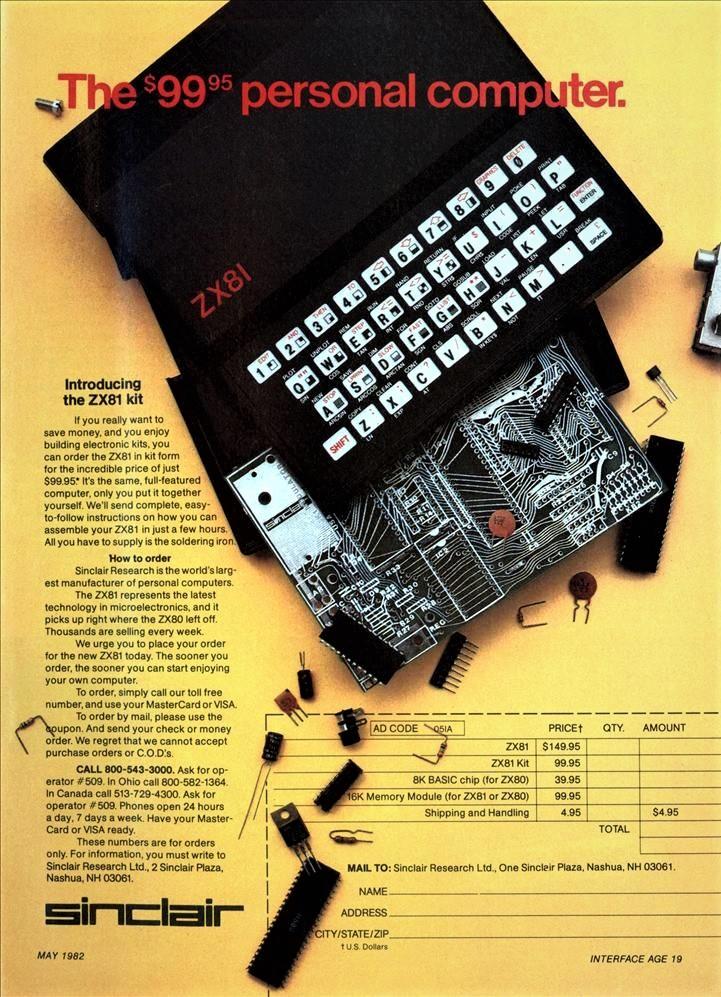 Sinclair ZX81 publicidad Sinclair ZX81